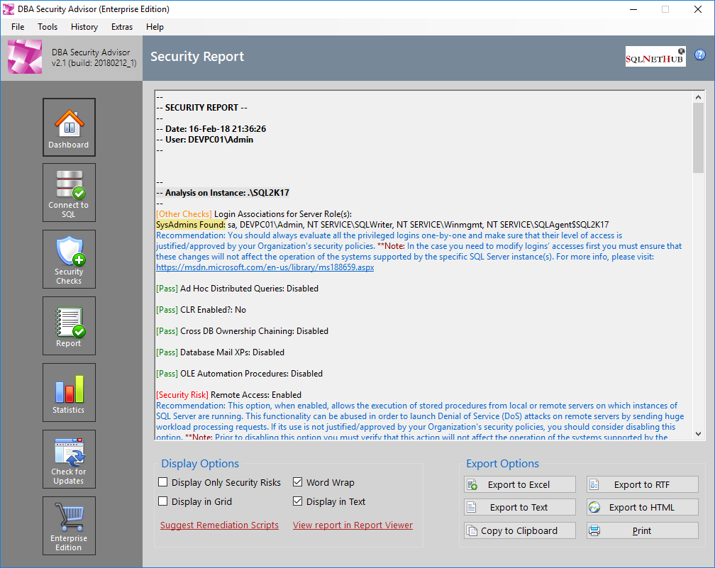 SQLNetHub's DBA Security Advisor - SQL Server Security Tool