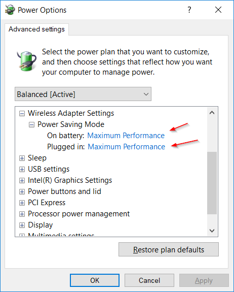 Power Options - Wireless Adapter Settings - Windows 10 - Article on TechHowTos.com